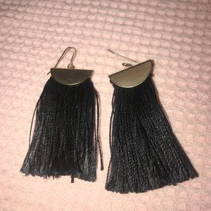 Black thread with gold earrings